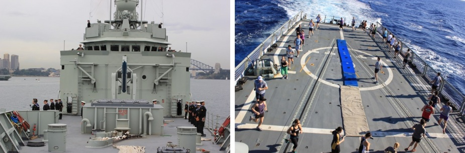 Left: Crew of Darwin departs Sydney Harbour, May 2012. Right: Crew of Darwin conducting PT on the flight deck.