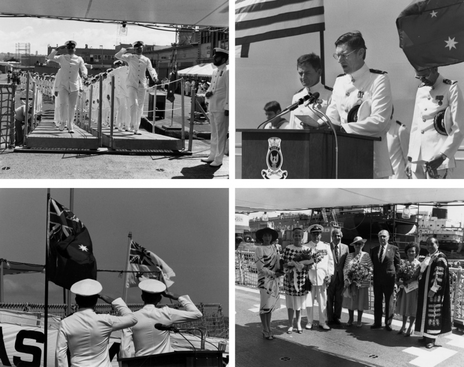 Top left: CPOs marching onboard. Top right: Principal Chaplain Jones. Bottom left: EO, LCDR TJ Scott, RAN; and CO, CMDR RJ Bayley, RAN. Bottom right: Official VIPs, L-R, Mrs Bev Bayley, wife of CO; Mrs Joan Johnston, wife of the Administrator; CDRE Eric Johnston, RANR (Administrator of NT); Nick Dondas, Deputy Chief Minister of NT; Lady Cotton, wife of the Australian Ambassador; Sir Robert Cotton, Australian Ambassador to USA; Mrs Fong Lim, wife of Lord Mayor; and Alec Fong Lim, Lord Mayor of the City of Darwin.