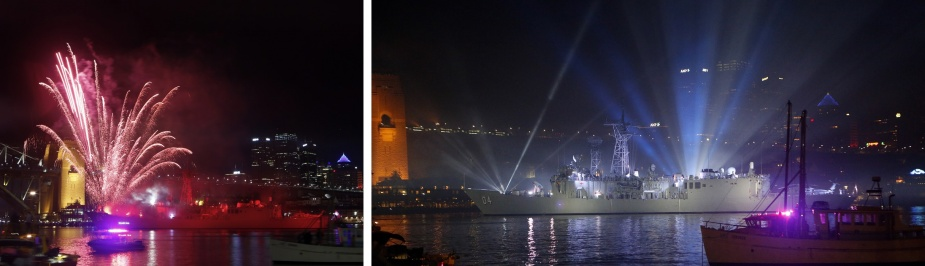 HMAS Darwin on Sydney Harbour during the International Fleet Review pyrotechnics and fireworks spectacular.
