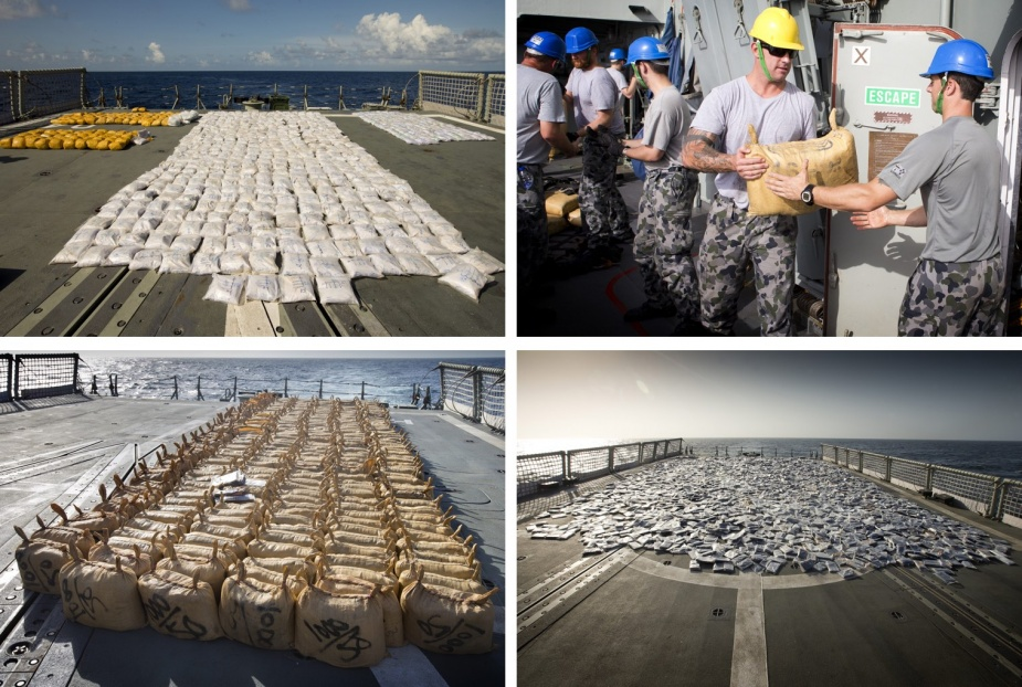 HMAS Darwin conducted eight separate narcotics interdictions over the course of her deployment to Operation MANITOU, resulting in the seizure and destruction of 1675kg of heroin and 10,647kg of cannabis resin.