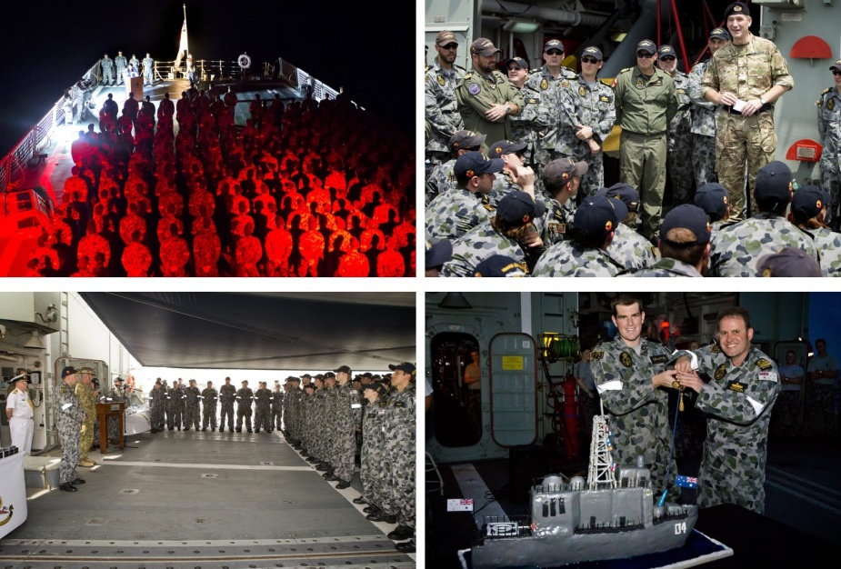 Top left: Darwin's ship's company commemorate Anzac Day, Indian Ocean, 2014. Top right: Commander Task Force 150, CDRE Jeremy Blunden, RN, addresses ship's company alongside in Muscat, 2 July 2014.<br />