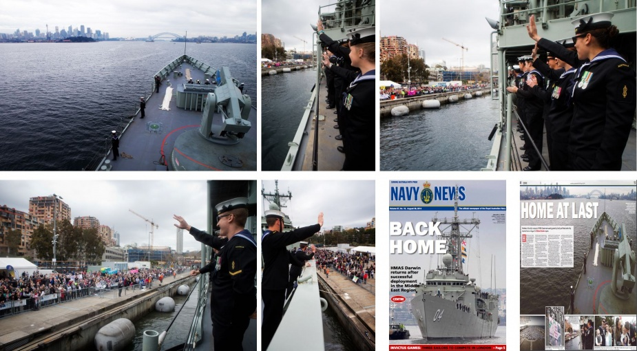 HMAS Darwin sails into her home port Fleet Base East, Sydney on completion of a successful seven-month deployment to the Middle East Region on Operation SLIPPER.
