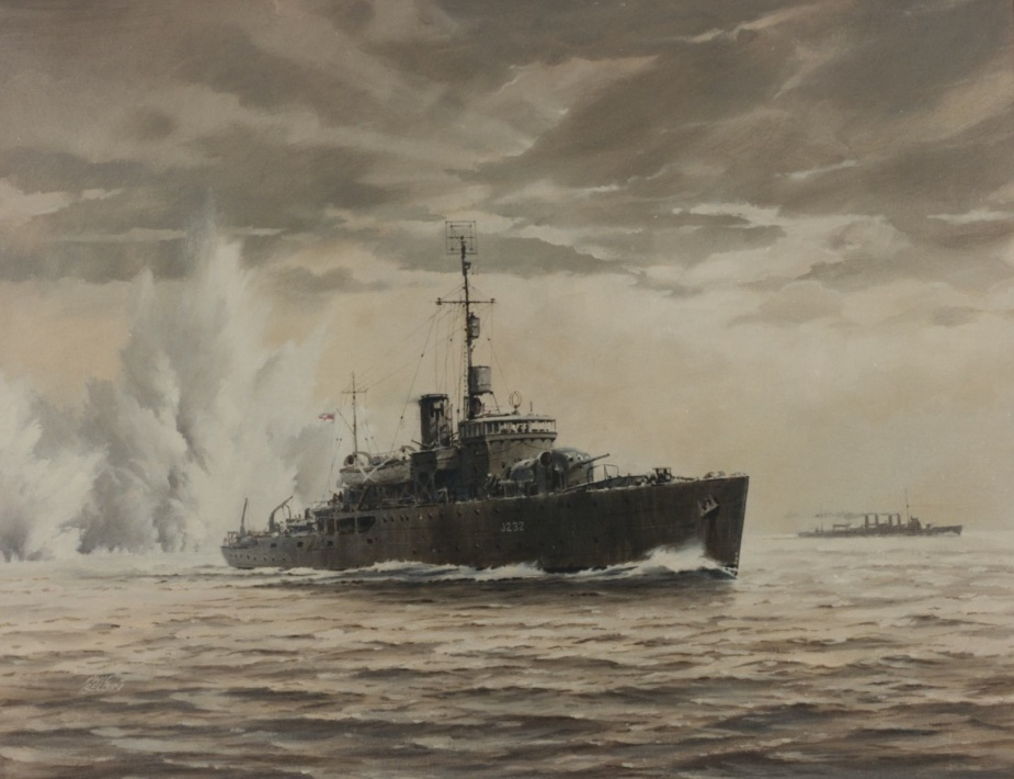 Artist Phil Belbin's fine impression of Deloraine pressing home her attack on the I-124 (Naval Heritage Collection)