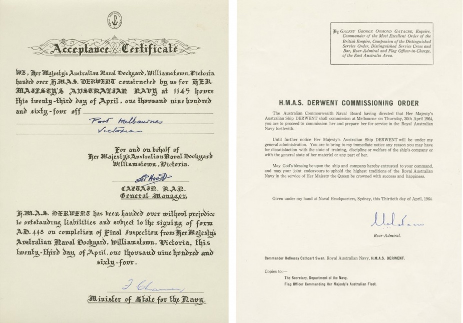 HMAS Derwent's acceptance certificate and commissioning order.