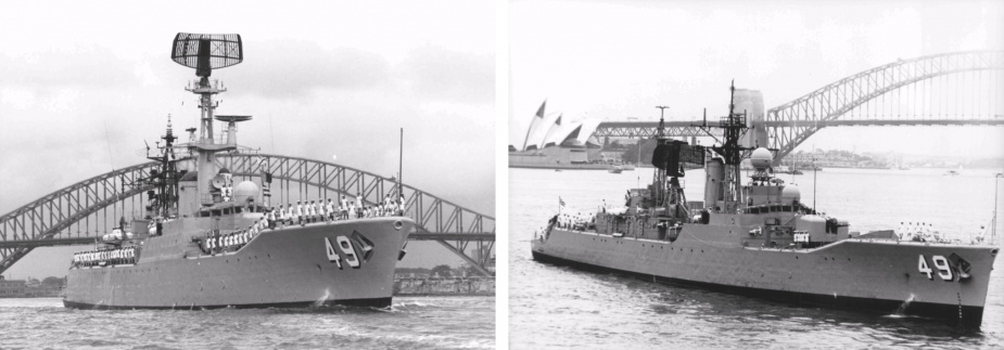 HMAS Derwent as she appeared before and after her half-life modernisation. Note the relocation of the LWO 2 long range air search radar aerial to a position abaft the funnel