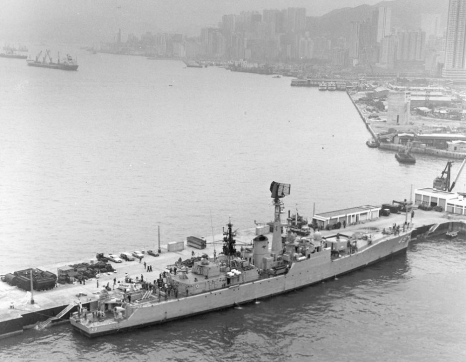 HMAS Derwent secured alongside in the basin at HMS Tamar during one of her many visits to Hong Kong.