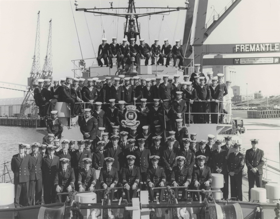 HMAS Diamantina ship's company assembled on board in Fremantle. August 1977.