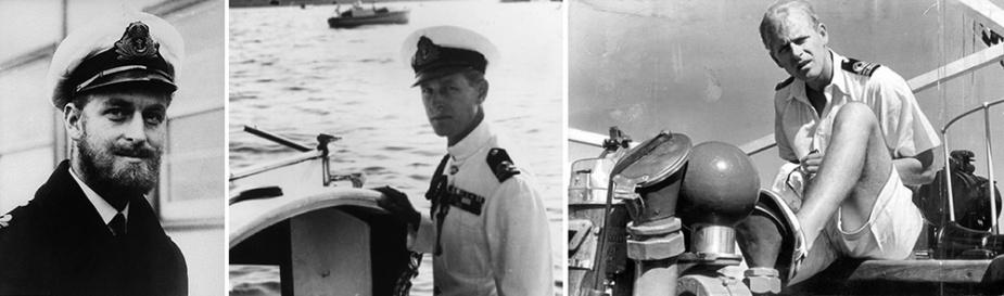 Left: A bearded Lieutenant Philip Mountbatten in Melbourne in 1945. Centre: Lieutenant Philip Mountbatten in Malta, October 1949. Right: Lieutenant Commander Mountbatten in the early 1950s, possibly aboard HMS Magpie.