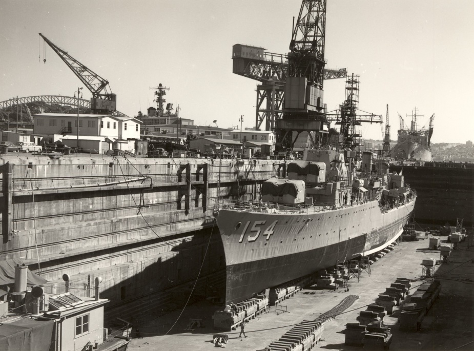 HMAS Duchess in the dry dock at Garden Island Dockyard.