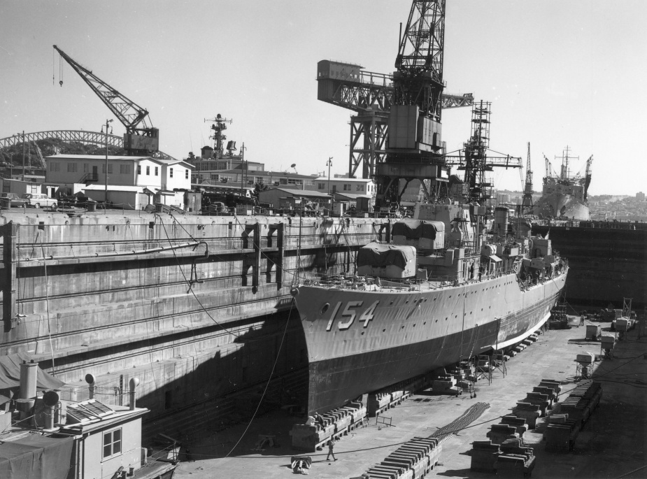 HMAS Duchess in Captain Cook Dock, Garden Island, Sydney.