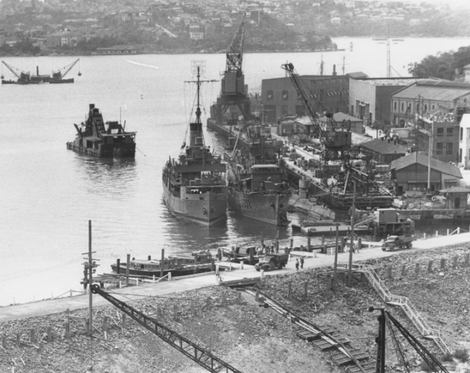 HMAS Echuca alongside the West Wharf at Garden Island c.1944