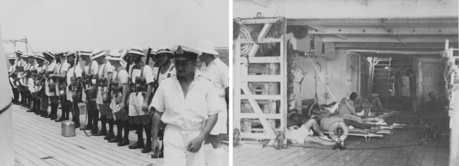 Left: Hobart's landing party mustered on her quarterdeck prior to going ashore. Right: The temporary sick back set up in the shelter deck.