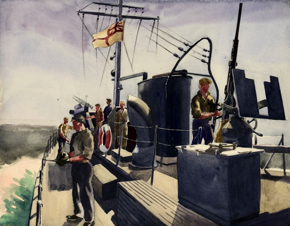 A water colour of an RAN Fairmile at sea by Rex Julius (1914-1944)