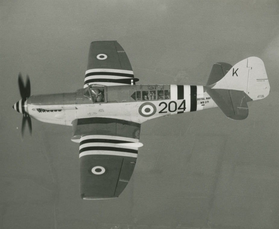 A RAN Firefly (on loan from the RN) bearing the black and white markings of the UN.
