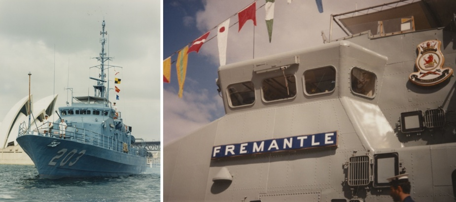 Left: HMAS Fremantle II, with the Sydney Opera House in the background. Right: Image of HMAS Fremantle II's name plaque.