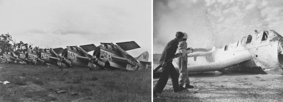 Left: The end of the line for the Fairey Gannets including the four T.2/T.5 trainers; awaiting disposal at HMAS Albatross. Right: A Gannet T2 in its final training role - on the fireground at HMAS Albatross as a training aid for naval aviation firefighting teams.