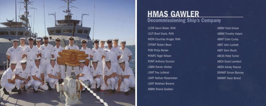 Decommissioning crew of HMAS Gawler II.