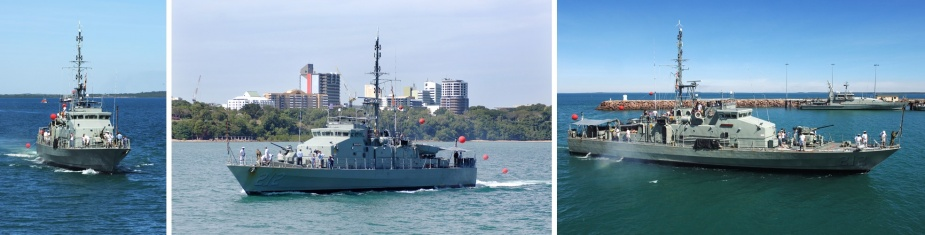 HMAS Gawler II flying her decommissioning pennant as she sails into her home port of Darwin for the last time.