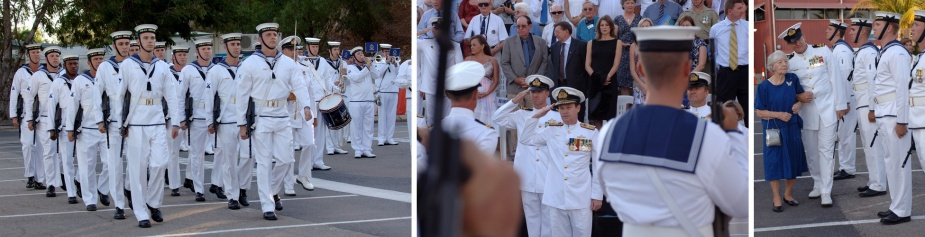 Left: The guard marches on at the commencement of the decommissioning ceremony for HMA Ships Geelong and Gawler. Middle: The Maritime Commander, Rear Admiral Dayvd Thomas AM CSC RAN, takes the salute from the guard at the decommissioning ceremony for HMA Ships Geelong and Gawler. Right: Mrs. Celia Fry OAM inspects the guard at the decommissioning ceremony for HMA Ships Geelong and Gawler. Mrs. Fry was the Launching Lady for HMAS Gawler in 1983 and is now the Decommissioning Lady of HMAS Gawler.