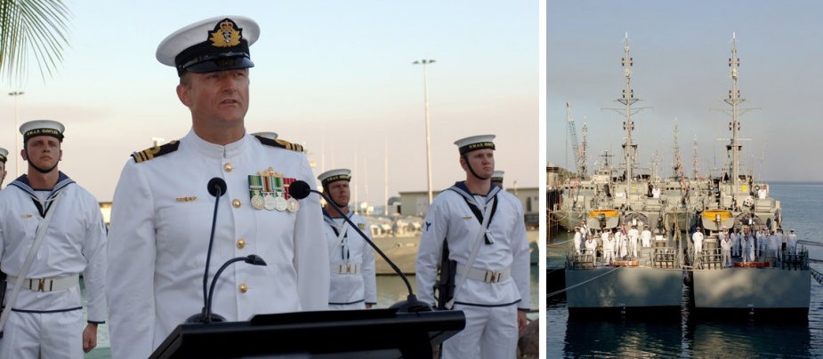Left: Lieutenant Commander Gavin Baker, Commanding Officer HMAS Gawler, makes his address at the decommissioning ceremony for HMA Ships Geelong and Gawler. Right: HMA Ships Geelong and Gawler.