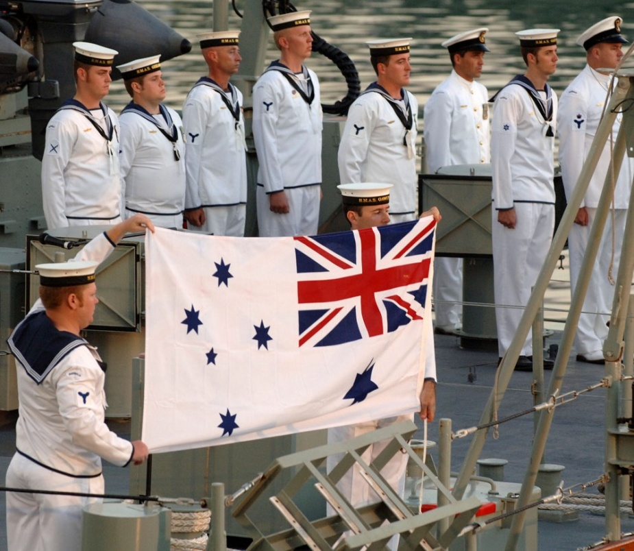 At sunset HMAS Gawler is officially decommissioned and the White Ensign comes down for the last time.