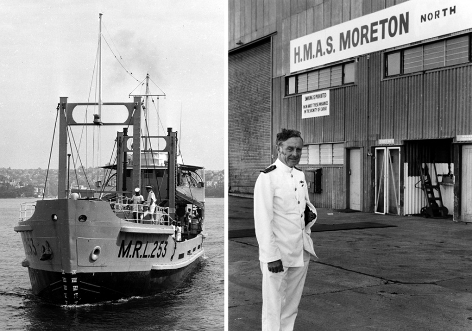 Left: MRL 253, later renamed TV Gayundah, proved to be an excellent training vessel for members of the Brisbane Port Division of the RANR.  Right: Captain Bill Owen, RAN who oversaw the purchase of the Moreton North facility.