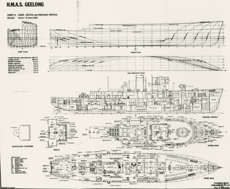 HMAS Geelong General Arrangement Drawing (Webb Warships)