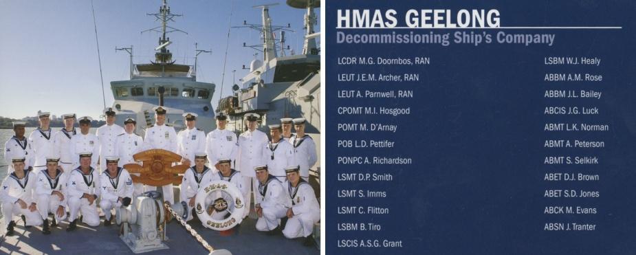 Decommissioning crew of HMAS Geelong II.