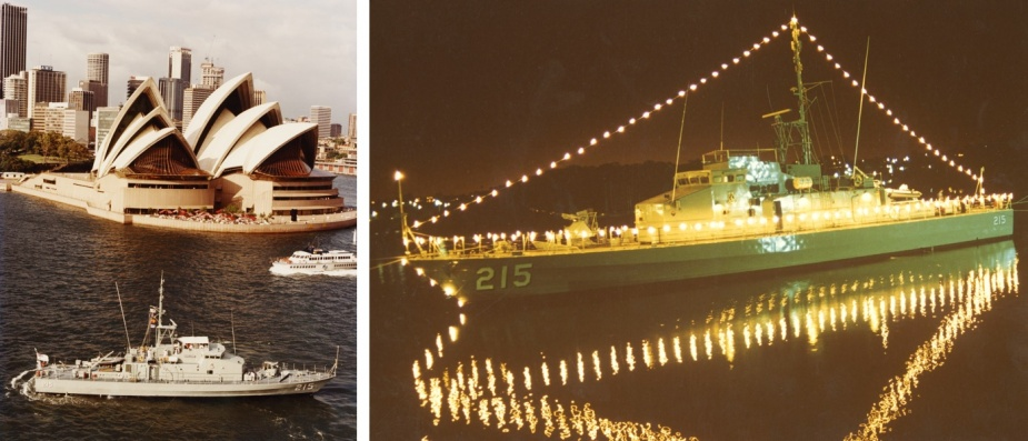 Left: Geelong passes the Sydney Opera House on her way back to HMAS Waterhen. Right: Geelong provided a ceremonial back drop for the Ceremonial Sunset and Beat the Retreat held at HMAS Waterhen on 22 August 1986.