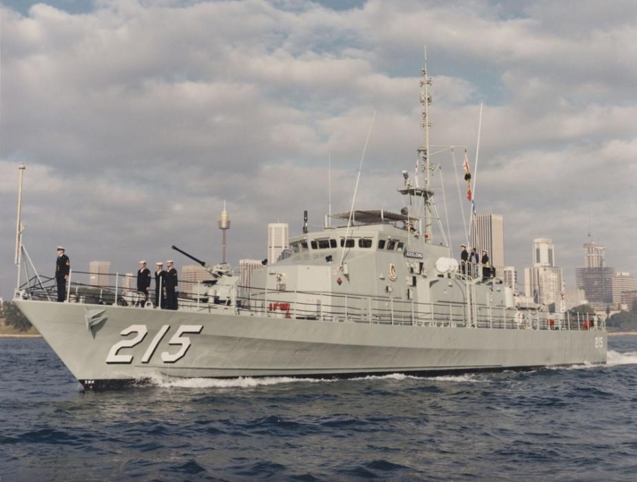 HMAS Geelong in Sydney Harbour, NSW.