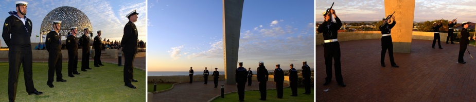 HMAS Geraldton conducting a ceremonial sunset at the HMAS Sydney Memorial, Geraldton, WA, c. October 2006.