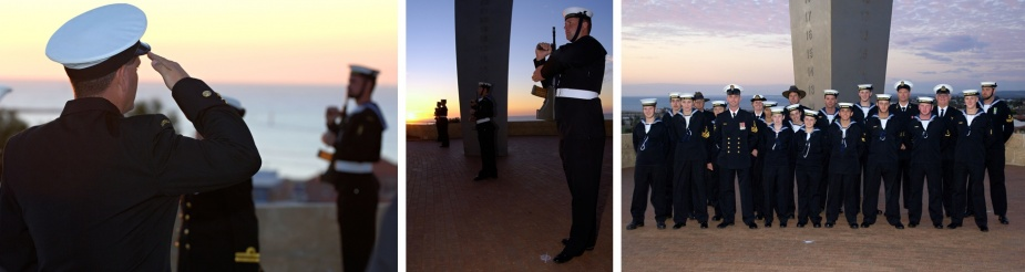 Left and middle: HMAS Geraldton conducting a ceremonial sunset at the HMAS Sydney Memorial, Geraldton, WA, c. October 2006. Right: Training Ship Morrow with HMAS Geraldton at the HMAS Sydney Memorial.