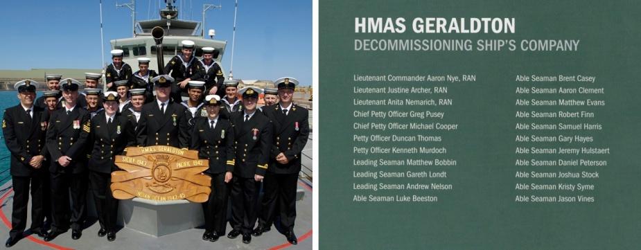 HMAS Geraldton II decomissioning crew.