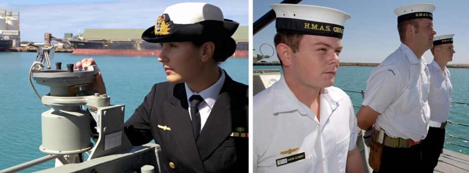 Left: Navigator Lieutenant Anita Nemarich takes a fix with the starboard Pelorus. Right: Able Seaman Communication System Information Aaron Clement fallen in on the Foecastle of HMAS Geraldton.