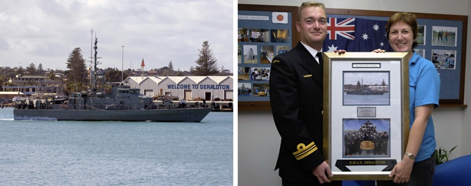 Left: HMAS Geraldton in Geraldton, WA, c. October 2006. Right: Commanding Officer HMAS Geraldton Lieutenant Commander Aaron Nye presents the Mayor of Geraldton Vickie Petersen a framed photo of HMAS Geraldton berthing in Geraldton for the last time.