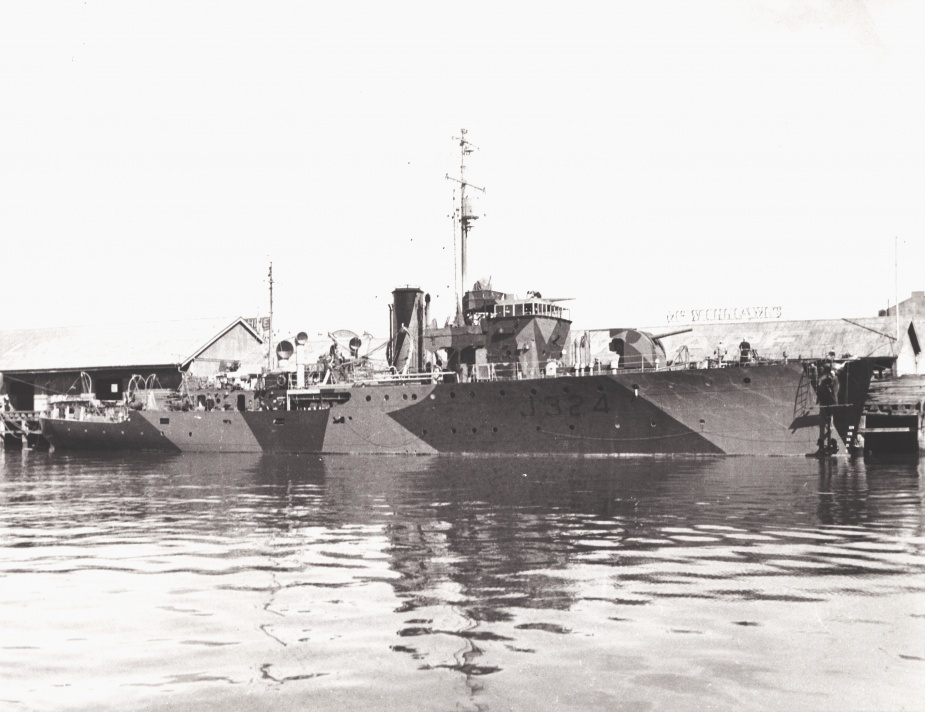 HMAS Gladstone wearing her wartime disruptive pattern camouflage paint