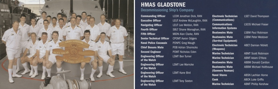Decommissioning crew of HMAS Gladstone.