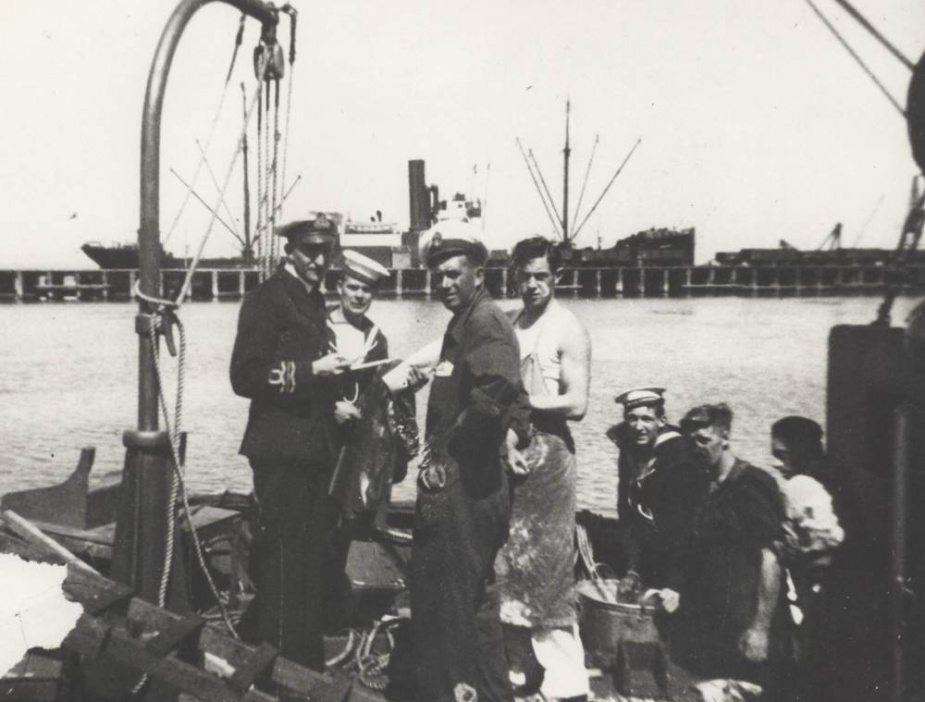 Members of the crew onboard Goorangai before the ship commissioned in 1939