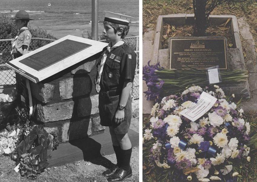 Left: The HMAS Goorangai memorial at Queenscliff, 27 November 1986. Right: The HMAS Goorangai memorial plaque at HMAS Cerberus, 6 April 1997.