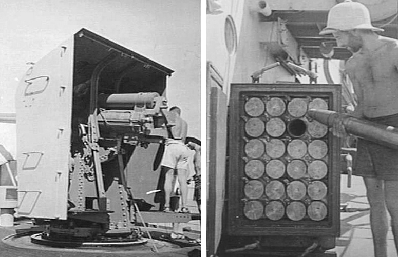 Left: Stawell's 4-inch gun showing breech block and gun shield. Right: To expedite bringing the gun into action, ammunition was kept close by in ready-use lockers fixed on the upper deck. Here Able Seaman J Rapkins can be seen replenishing the locker.