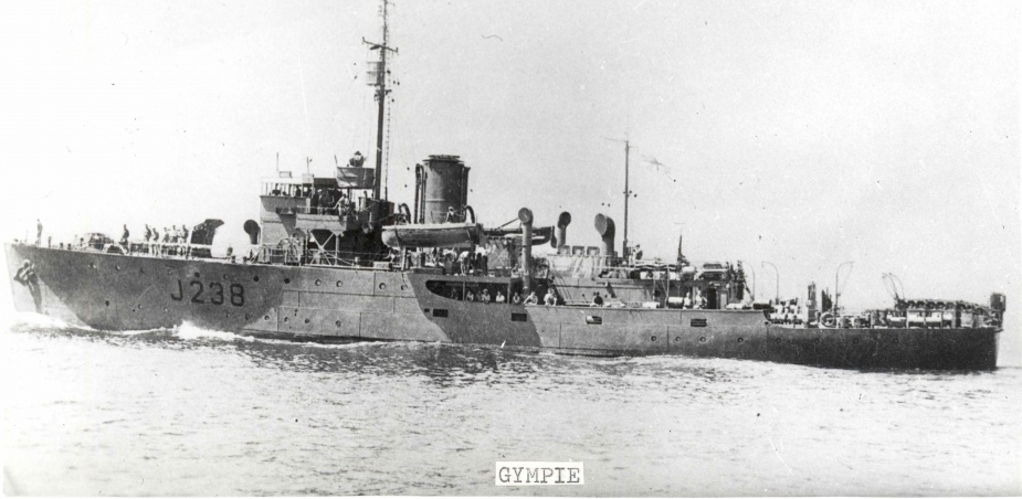 HMAS Gympie wearing her wartime disruptive pattern camouflage paint.