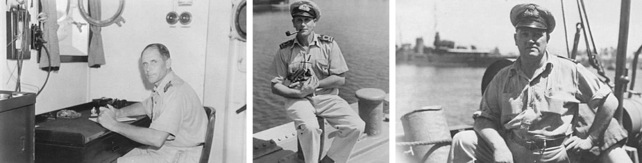 Left: Lieutenant NK Wallis, RAN, in his cabin aboard Gympie. (AWM 076752) Middle: Lieutenant NK Wallis, Commanding Officer of Gympie, nursing the ship's mascot. (AWM 076748) Right: Lieutenant WV Woods, RANVR, Sea Transport Officer of Aitape, aboard Gympie. (AWM 076753)