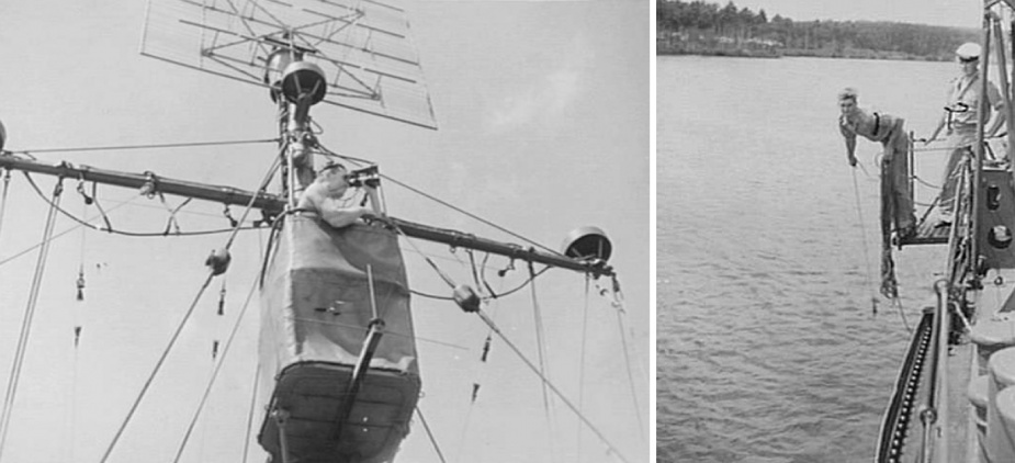 Left: A rating on the lookout from the crows nest of Gympie. (AWM 076750) Right: The quartermaster 'swinging the lead' (taking a manual depth sounding) aboard Gympie as she enters the bay. (AWM 076746)