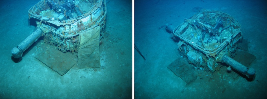 The main part of the HACS lying on the seabed in the debris field. Remarkably the splinter mats that were lashed to the HACS to provide an additional measure of protection can be seen lying next to it, their rope lashing having long-since perished. In the right hand picture can be seen the remains of the rate officer's convoluted voice pipe.