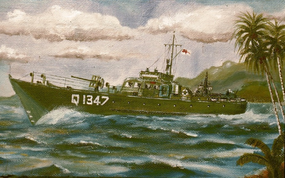 Many of the Australian motor launches were painted green when operating in New Guinea waters, as depicted in this painting by crew member Able Seaman Richard Jeffs.