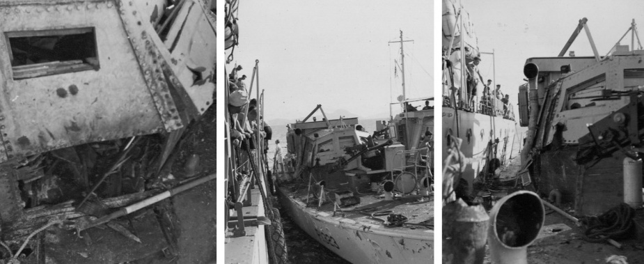 Left: Damage to ML 1323's wheel house. Middle: The stricken ML alongside HMS Concord. Right: The extent of the damage.