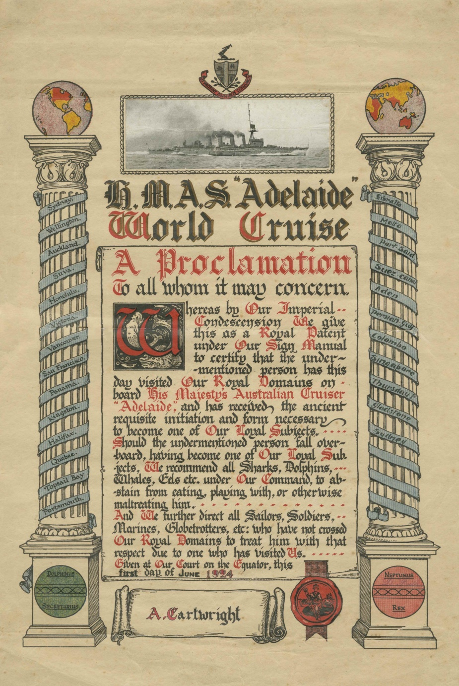 A certificate from HMAS Adelaide's 1924 world cruise.
