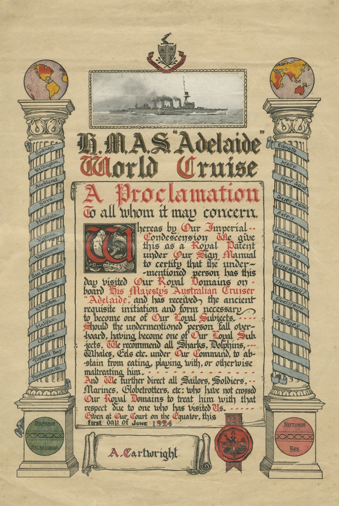 Adelaide's world cruise saw many of her crew cross the equator for the first time. After they had been indoctrinated into King Neptune's realm each member of the crew was presented with a copy of this handsome certificate. (Courtesy Ken Cartwright)