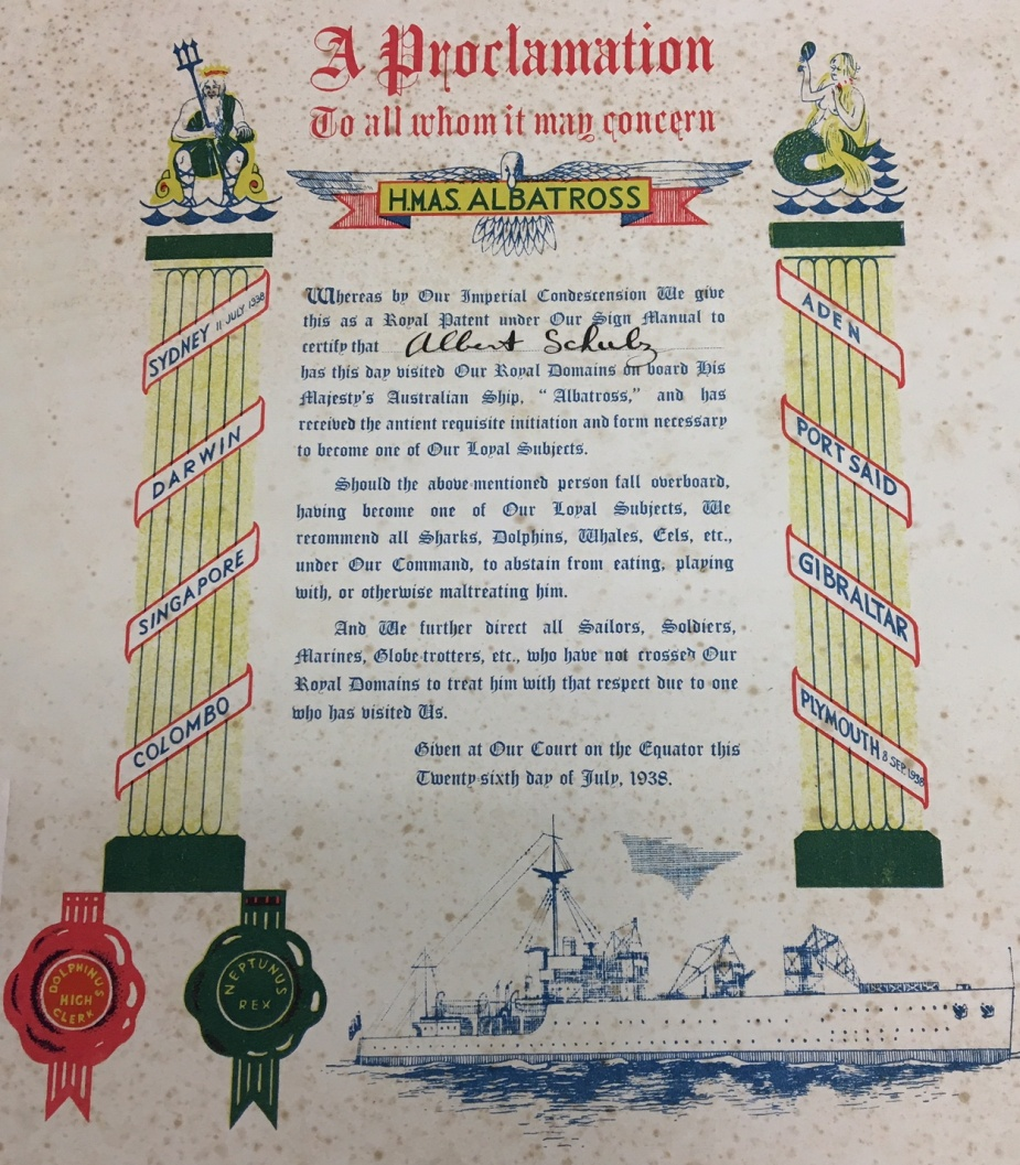 HMAS Albatross' certificate c.1938. (Note the wax seal of Neptunus Rex, this is a recurring theme).