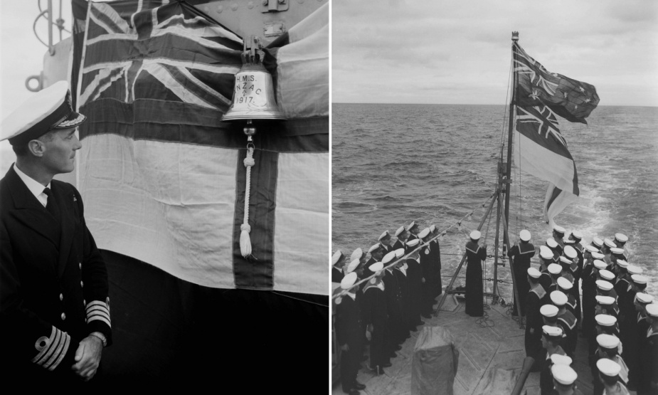 Right: Captain Urquhart inspecting the ship's bell. The bell was passed on from HMAS Anzac (I) and currently resides in the office of the Chief of Navy. Left: HMAS Anzac (II) is officially handed over to the RAN by Williamstown dockyard. The ceremony took place at sea on 22 March 1951 and was marked with the hauling down of the Red Ensign and the raising of the White Ensign.